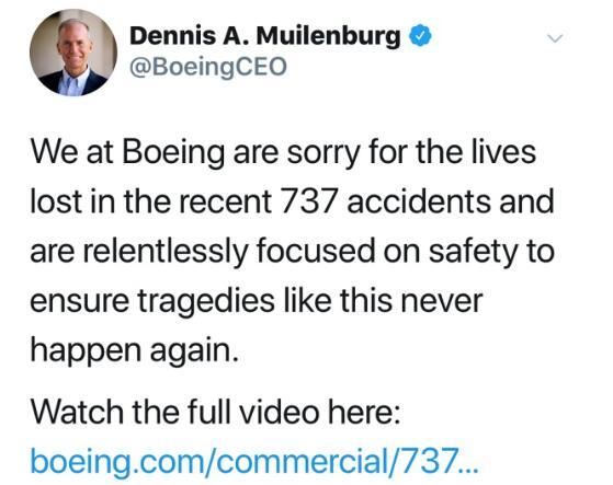 波音CEO就两起坠机事故致歉 承认飞行系统存在问题